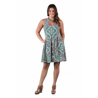 24/7 Comfort Apparel Women's Plus Size Paisley Mosaic Sleeveless A-line Dress
