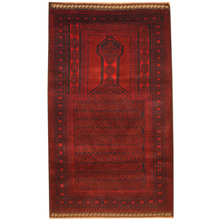 Herat Oriental Afghan Hand-knotted 1970s Semi-antique Tribal Balouchi Red/ Navy Wool Rug (2'10 x 5')