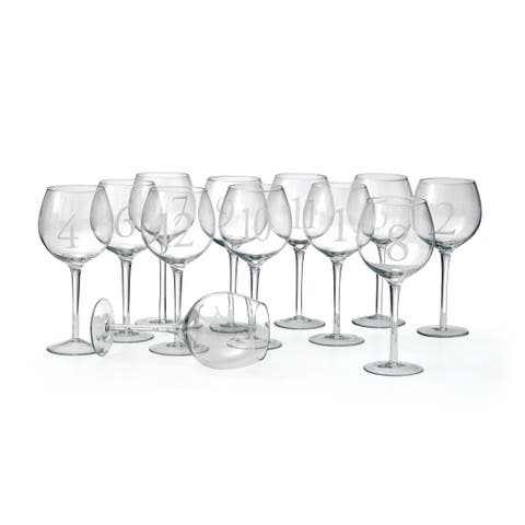 Set of 12 Numbered Wine Glass