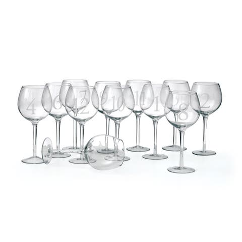 Clear 12-Piece Numbered Wine Glasses
