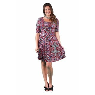 24/7 Comfort Apparel Women's Plus Size Jagged Paisley Printed Dress