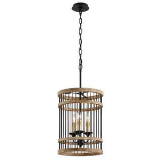 Troy Lighting Vineyard 3-light Rusty Iron with Salvaged Wood Pendant