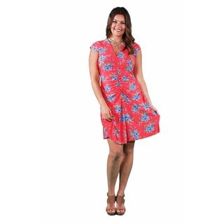 24/7 Comfort Apparel Women's Plus Size Red&Blue Floral Shirred Dress