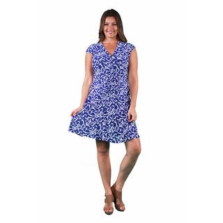 24/7 Comfort Apparel Women's Plus Size Abstract Blue Shirred Dress