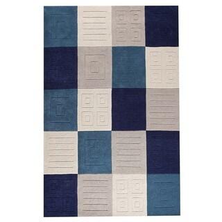 M.A.Trading Hand-Tufted Indo Cuadro Blue/ Grey Rug (7'6 x 9'6)
