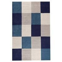 Handmade M.A. Trading Indo Cuadro Blue/ Grey Rug - 7'6 x 9'6 (India)