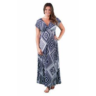 24/7 Comfort Apparel Women's Plus Size Blue-Cream Rectangle Print Maxi