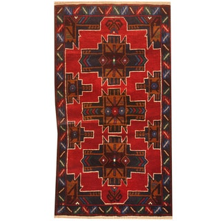 Herat Oriental Afghan Hand-knotted 1960s Semi-antique Tribal Balouchi Red/ Navy Wool Rug (2'5 x 4'5)