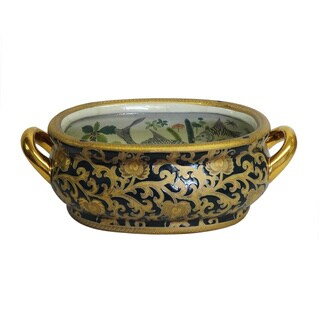Green & Gold Scrolls Porcelain Footbath