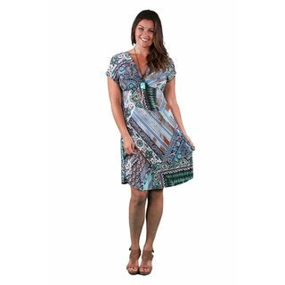 24/7 Comfort Apparel Women's Plus Size Oriental Printed Empire Dress