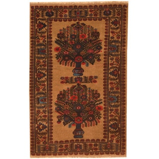 Herat Oriental Afghan Hand-knotted 1960s Semi-antique Tribal Balouchi Beige/ Red Wool Rug (2'10 x 4'6)