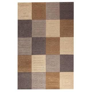 M.A. Trading Hand-tufted Indo Cuadro Grey/ Beige Rug (7'6 x 9'6)