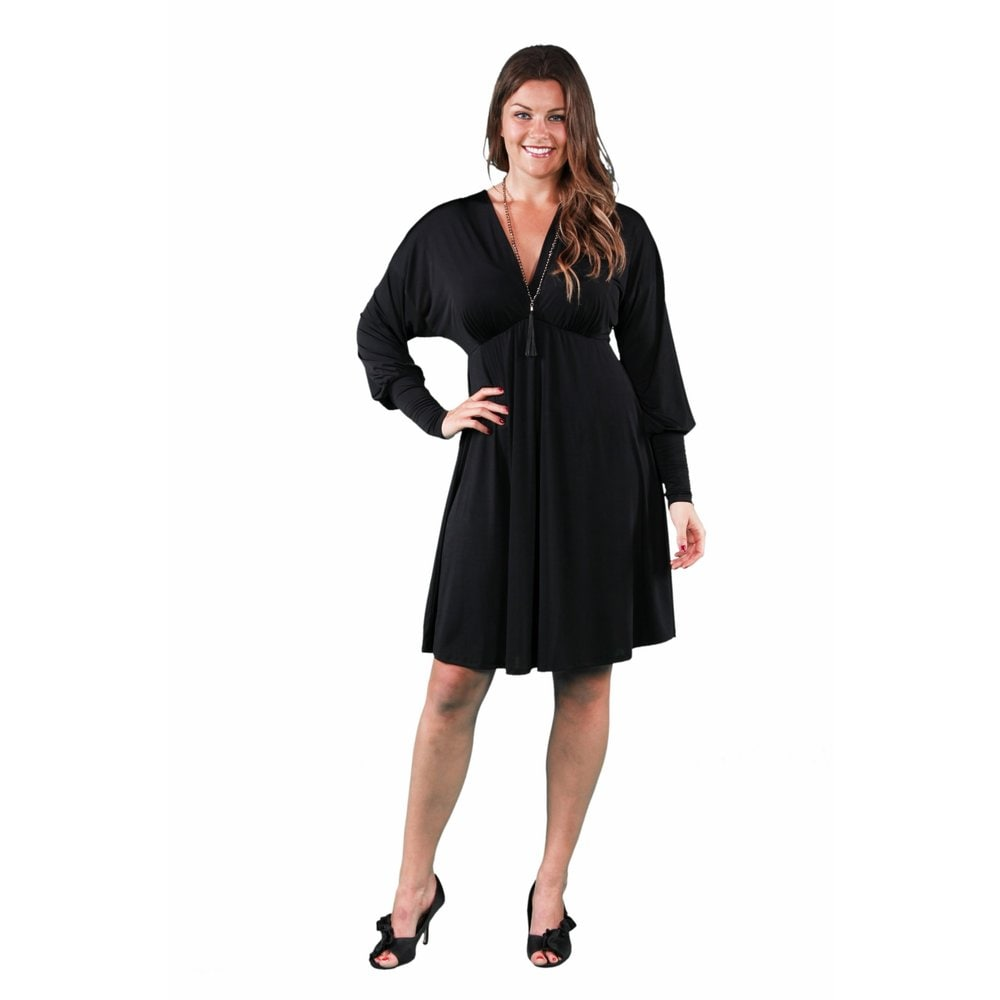24/7 Comfort Apparel Womens Plus Size Long Sleeve Empire Dress