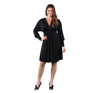 24/7 Comfort Apparel Women's Plus Size Long Sleeve Empire Dress