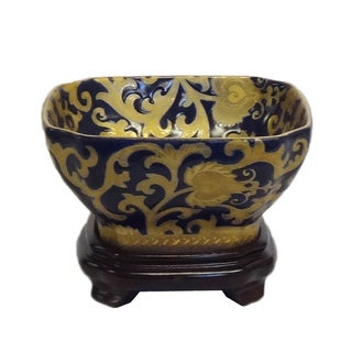 Royal Medallion Square Porcelain Bowl w/ stand