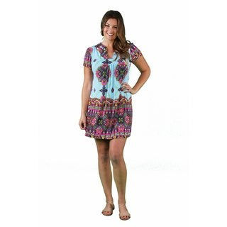 24/7 Comfort Apparel Women's Plus Size Abstract Sky Blue Classic Dress