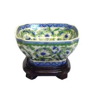 Garland Scrolls Square Porcelain Bowl w/ stand