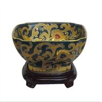 Green & Gold Square Porcelain Bowl w/ stand