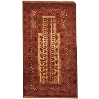 Herat Oriental Afghan Hand-knotted 1960s Semi-antique Tribal Balouchi Ivory/ Red Wool Rug (2'10 x 5')