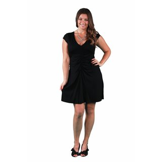 24/7 Comfort Apparel Women's Plus Size Shirred Front Dress