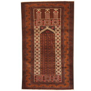 Herat Oriental Afghan Hand-knotted 1960s Semi-antique Tribal Balouchi Navy/ Ivory Wool Rug (2'7 x 4'3)