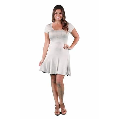 24/7 Comfort Apparel Women's Plus Size Short Sleeve A-Line Dress