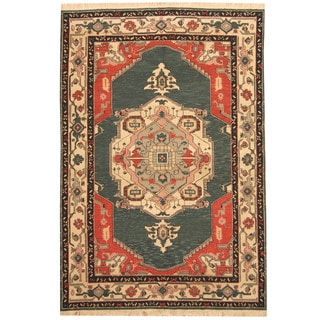 Herat Oriental Indo Hand-woven Soumak Kilim Wool Rug (6' x 9')