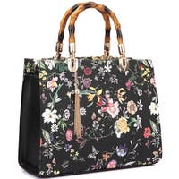 Dasein Bamboo Handle Faux Leather Medium Tote Bag