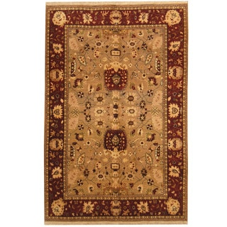 Herat Oriental Indo Hand-knotted Oushak Wool Rug (6' x 9'1)