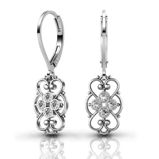 Lucia Costin Sterling Silver Clear Crystal Earrings with Cute Details