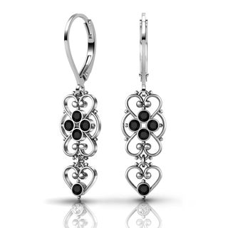 Lucia Costin Sterling Silver Black Crystal Earrings with Cute Dots
