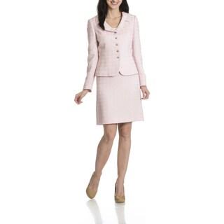 Tahari Arthur S. Levine Women's Tonal Houndstooth 2-Piece Skirt Suit