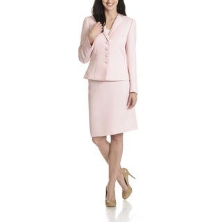 Tahari Arthur S. Levine Women's Pearl Trim Collar Textured 2-piece Skirt Suit