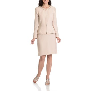 Tahari Arthur S. Levine Women's Embellished Zip Front 2-Piece Skirt Suit