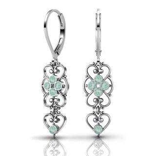 Lucia Costin .925 Sterling Silver Mint Blue Crystal Earrings