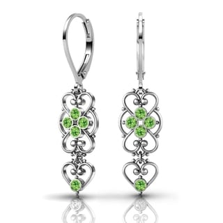 Lucia Costin Sterling Silver Light Green Crystal Earrings with Dots