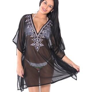 La Leela Lightweight Chiffon Deep V Neck Designer Floral Leafy Kimono Women Bikini Cover up Black To