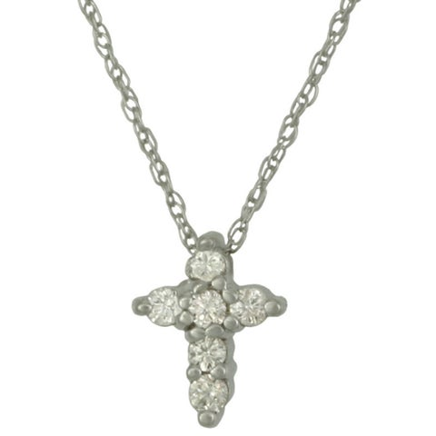 14k Gold Diamond Cross Necklace with Round Brilliant-cut Diamond Accents