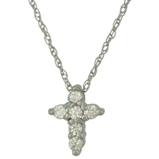 14k Gold Diamond Cross Necklace with Round Brilliant-cut Diamond Accents (2 options available)