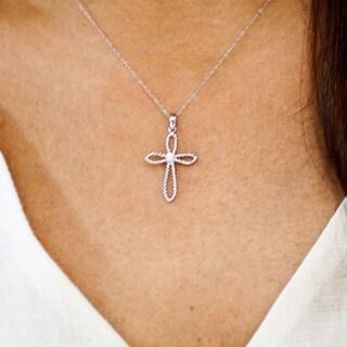 14k White Gold Round Diamond Accent Filigree Cross Necklace