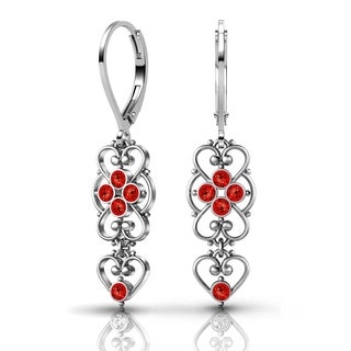 Lucia Costin Sterling Silver Red Crystal Earrings with Heart Ornaments