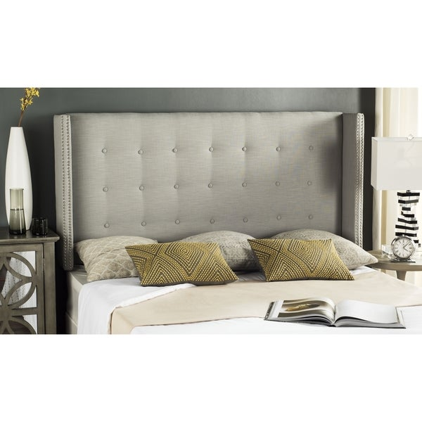 Safavieh Keegan Silver Linen Upholstered Tufted Wingback Headboard (Queen)