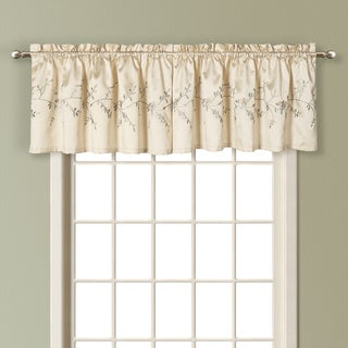 Addison Embroidered Faux Silk Straight Valance Pairs