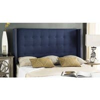 Safavieh Keegan Navy Linen Upholstered Tufted Wingback Headboard (Full)