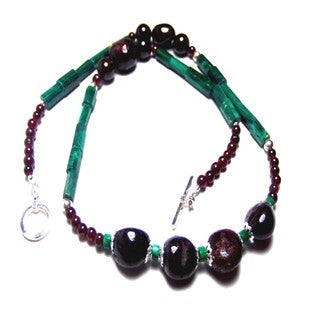 Midnight Garnet Malachite Toggle Earrings set