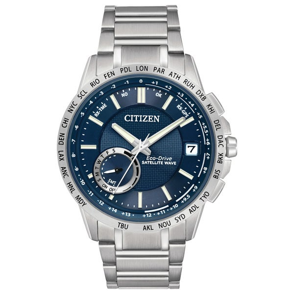 350535fc964c Shop Citizen Men s CC3000-89L Blue Dial Satellite Wave-World Time GPS  Stainless Steel Watch - Free Shipping Today - Overstock - 11551617