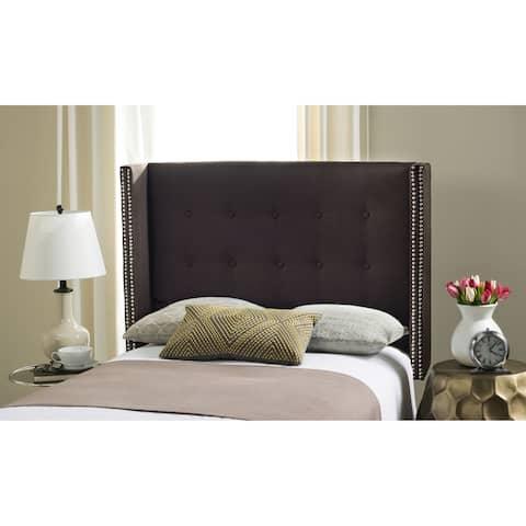 SAFAVIEH Keegan Chocolate Linen Upholstered Tufted Wingback Headboard (Full)