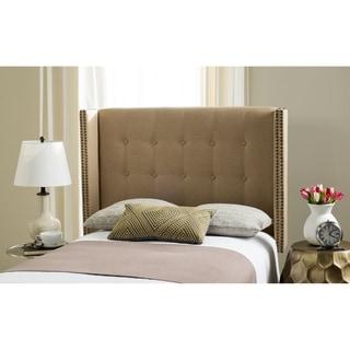 Link to Safavieh Keegan Sandstone Linen Upholstered Wingback Headboard (Full) Similar Items in Bedroom Furniture