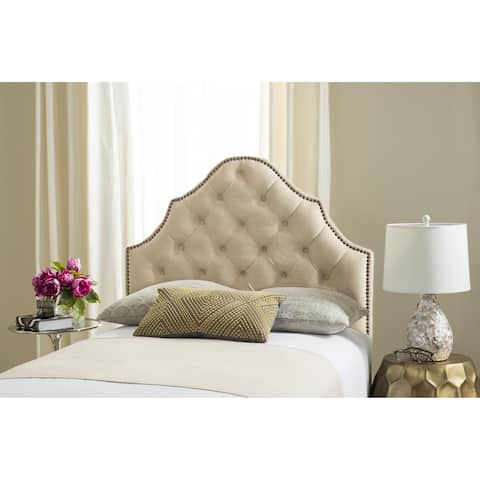 Safavieh Arebelle Buckwheat Velvet Upholstered Tufted Headboard - Brass Nailhead (Twin)