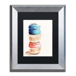 Jennifer Redstreake 'Stacked Cupcakes No Words' Matted Framed Art